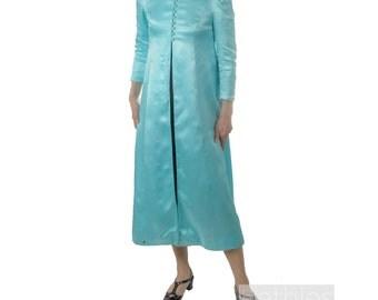 1960s Coat Blue Evening Coat Light Blue Robe with Mandarin Collar in Silky Sky Blue Robe Vintage 60s Jacket