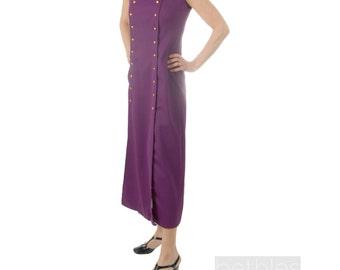 Maxi Dress 60s Purple Maxi Dress Long Dress Vintage 1960s Summer Dress Purple Dress Spring Maxi Dress Sleeveless Dress