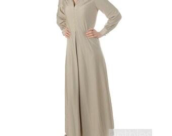 1960s Dress Beige Dress Beige Maxi Dress Oyster Grey Maxi Dress Long Sleeves Dress Beige Vintage 60s Beige Hostess Gown