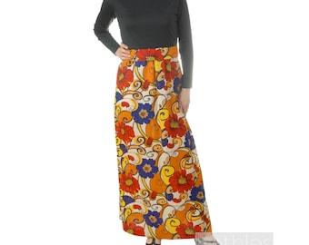 1960s Maxi Dress Black  Floral Print Dress Red, Gold, Purple Cream Long Floral Skirt Mod Dress Hostess Gown Vintage 60s Long Sleeve Dress