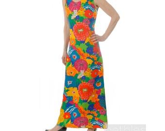 1960s Dress Mod Dress Maxi Dress Bold Floral Print Dress Vintage 60s Long Dress Sleeveless Summer Dress Mod Floral Dress