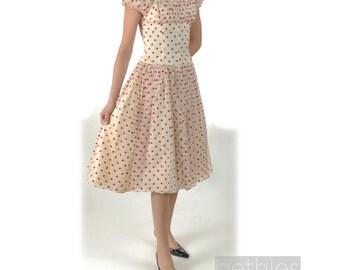 1950s Dress Prom Dress Red Polka Dot Dress Chiffon Party Dress Ivory Satin Dress Vintage 50s Party Dress Size Small Dress