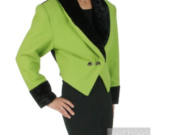 1970s Green Bolero Jacket Santana Jacket Bright Green Crop Jacket Short Jacket Faux Fur  Black Collar and Cuffs Vintage 70s Blazer