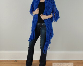 1960s Shawl Blue Knit Shawl Bohemian Triangle Shawl Blue Shawl Vintage 60s Fringed Shawl Handmade Hippie Shawl Blue Knit Wrap Triangle Shawl