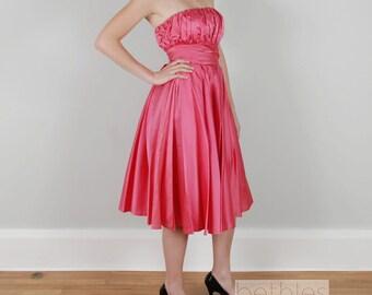 50s Dress Party Dress Coral Dress Pink Satin Dress Pink Dress Prom Dress Vintage 50s  Pink Strapless Dress Bridesmaid Dress Cocktail Dress