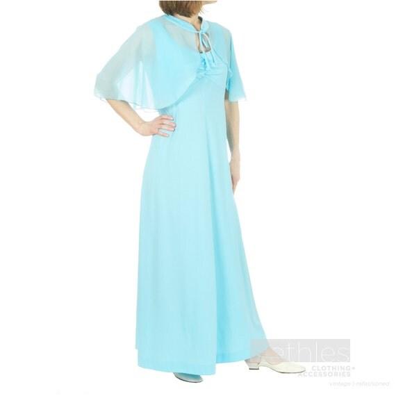 Blue Dress with Chiffon Caplet Sleeveless Dress Long Dress Vintage 70s