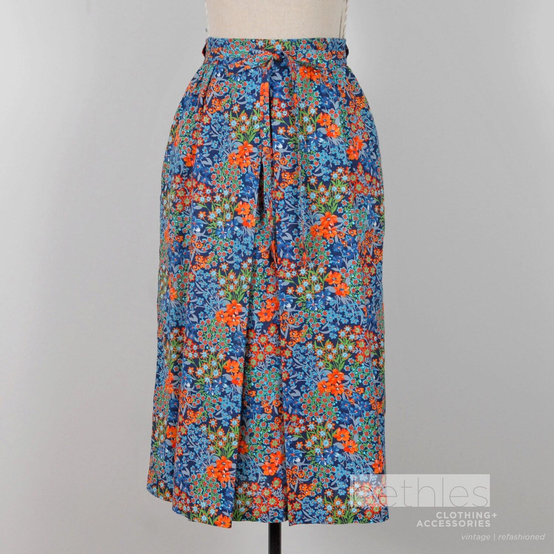 1970s skirt floral skirt blue and orange skirt by