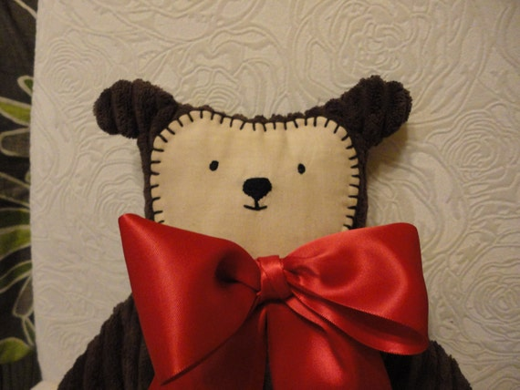 Soft MInky Huggable Bear with stitched face, red bow and added stitched heart