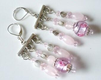 Pink love Quartz chandelier earrings E066