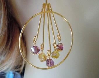 Gold Lemon and Lavender gold plated Hoops earrings  E116