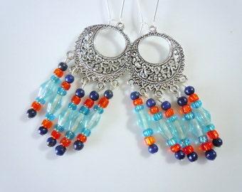 Blue and Orange chandelier earrings  E171