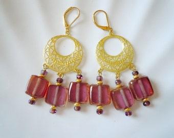 SALE Rosy on Brass earrings E144