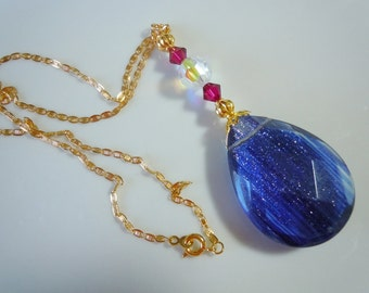 Blue Sand on gold, Pendant  193