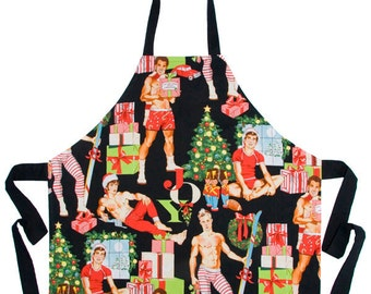 Unisex Apron Sexy PinUp Men in Underwear Christmas Themed