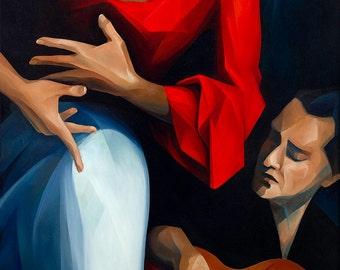 "FLAMENCO Fine Art Giclee Print on Canvas, 24""x48"""