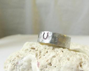 Horseshoe Ring- Silver Aluminum Hammered Band Ring