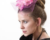 Lavinia--Hair Fascinator Pink Peony with light purple veil netting