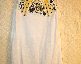 SALE Cream and floral hippie mini dress