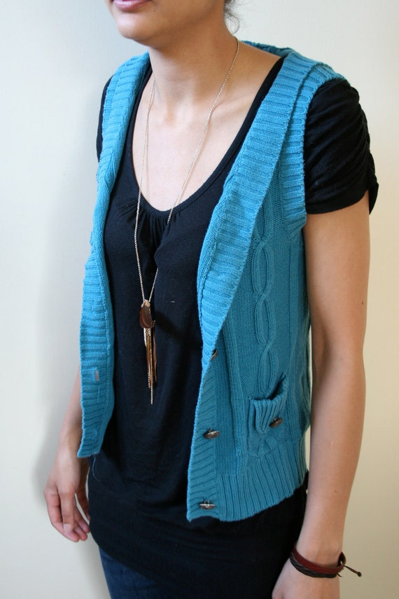 SALE Emerald Turquoise Button-Up Sweater Vest