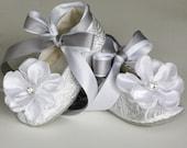 Silver Baby Ballet Slipper, Toddler Flower Girl Shoe also Gold, Ivory, White, Christening, Little Girl Easter Shoe, Wedding Shoe, Baby Souls