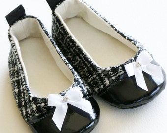 Black & Silver Tweed Baby Girl Shoes, Baby Ballet Slippers, Toddler Ballet Flat, Special Occasion Shoes, Bootie, Dance, Baby Souls Couture