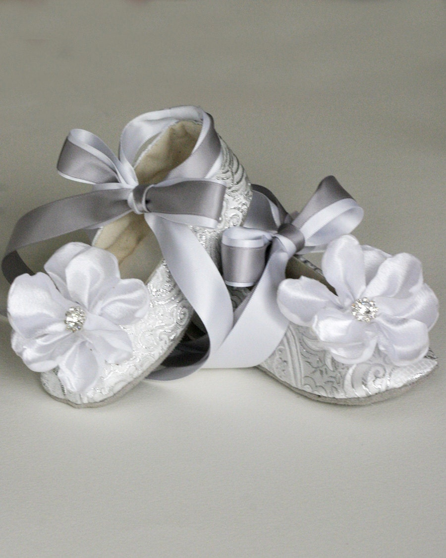 Ivory Brocade Toddler Flower Girl Shoe Flower Girl Wedding