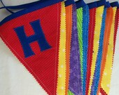 Happy Birthday Banner /  Fabric Birthday Banner in Primary Colors/ Bunting in Blue, Red, Green, Yellow, and Purple Fabric/ Photo Prop