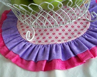 Birthday Table Runner/ Cake Plate or Cup Cake Stand Mat/ Valentine's or Easter Table Runner/  Reversible Table Round in Pink and Purple
