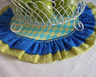 Birthday Table Runner/ Cake Plate or Cup Cake Holder Mat/ Table Runner/  Reversible Table Round in Blue and Green