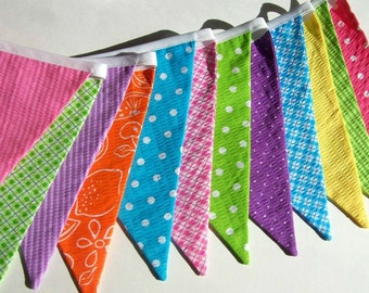 Fabric  Banner in Bright Summer Colors/ Party Banner/ Photo Prop in green, blue, pink, purple, yellow and orange