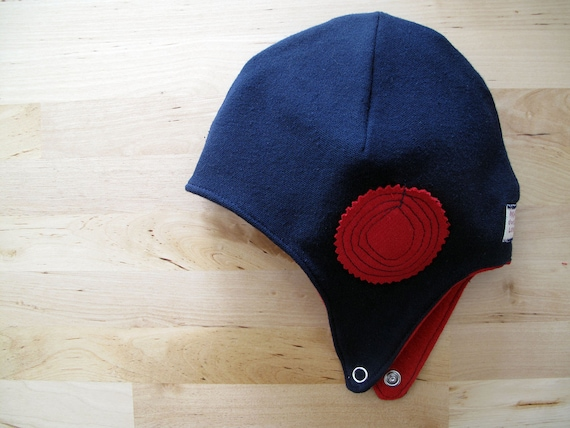 Baby boy aviator hat, helmet hat. Warm and soft jersey. Sizes 0-24 mo. Made in Italy.