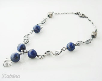 OOAK Wire Wrapped Necklace - Sterling Silver Necklace - Lapis Lazuli Necklace - Gift Under 125