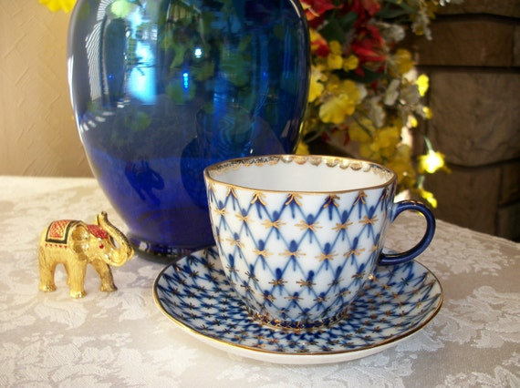 Lomonosov Cobalt Net tea cup and saucer - ON SALE