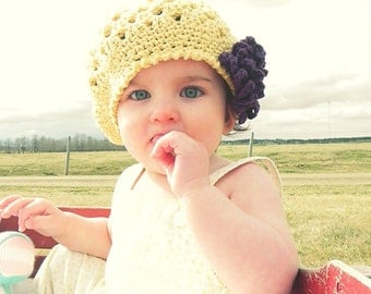 Crochet Pattern for Taryn Hat with interchangeable flowers - 5 sizes, baby to adult - Welcome to sell finished items