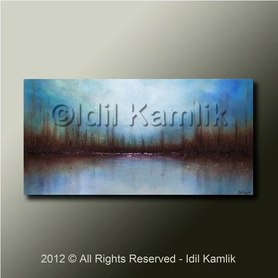 Modern Abstract Original Landscape PAINTING Contemporary Textured  Fine Art by Idil Kamlik
