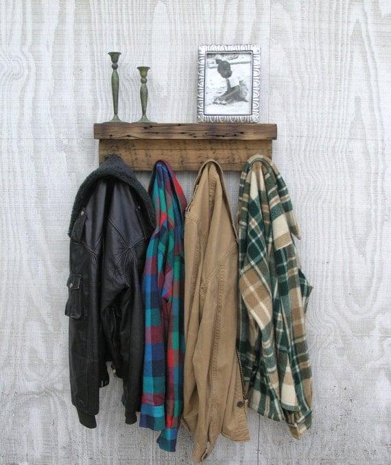 Modern Rustic Wood Coat Rack Shelf - lumber from an 1860/70's Gold Mine Camp in the Eastern Sierra Nevada Mountains