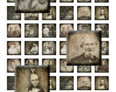 Vintage Vignettes - Victorian Portraits - 1 inch squares, digital collage sheet