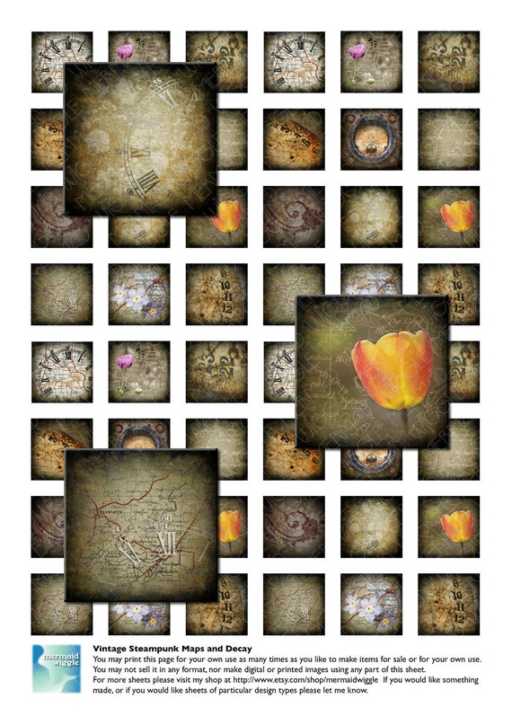 Vintage Steampunk Maps & Decay - 1 inch squares, digital collage sheet