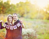 Wedding Date Banner, Save the Date, Hearts, Custom colors, Invitation, Photo Prop