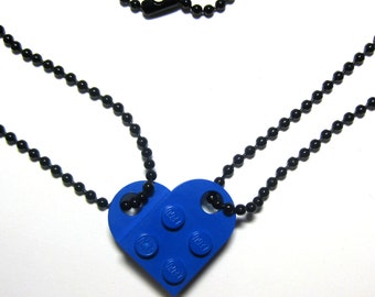 """BFF Heart Necklace Set - Made of LEGO® Bricks - 24"""" Black Dog Tag Style Ball Chain Friendship Friends Set - 2 Necklaces Best Friend Gift"""
