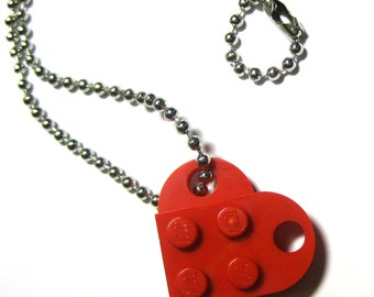 """Single Heart Necklace - Made with LEGO® Bricks - On 24"""" Dog Tag Style Ball Chain - With Gift Pouch"""