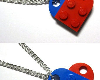One-Sided Single Chain Heart Necklace - Made with LEGO® Bricks - With Gift Pouch - Multi-Color Possibilities