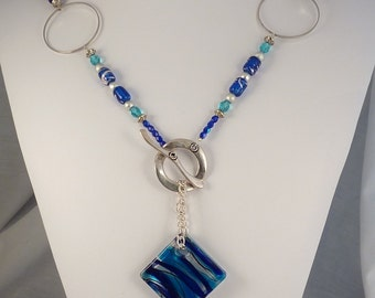 Geometric Blue Square Glass Lariat Style Necklace with matching Earring set