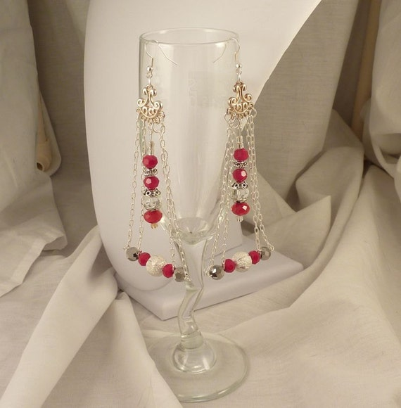 Silver and Raspberry Pink Chandelier style earrings- Geometric Dangle Earrings with pink crystals