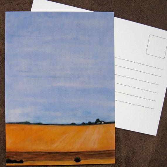 postcard : Amber Field - landscape postcard, art postcard, california landscape, farm landscape, amber, field