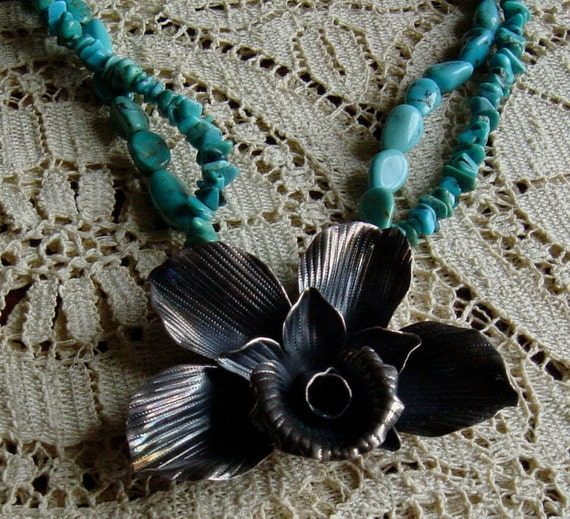 Vintage Turquoise Silver Necklace Boho Haute Hippie Trending Style