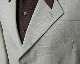 NEWER VINTAGE Men's -Alexandre- sport coat. 'New Old Stock'. Worsted window pane plaid. 40 Reg . England