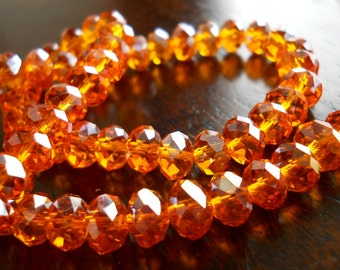 10 Golden Amber Faceted Swarovski Crystal Rondelle 8mm Beads