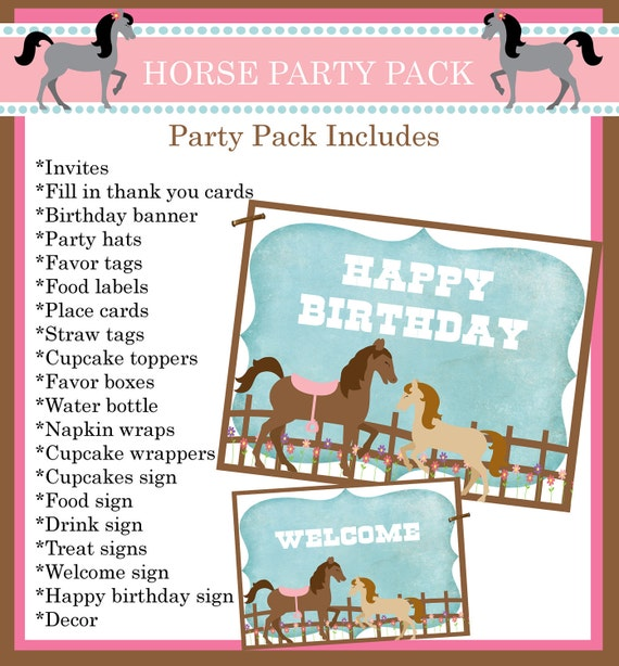 Horse Personalized Printable Party Pack