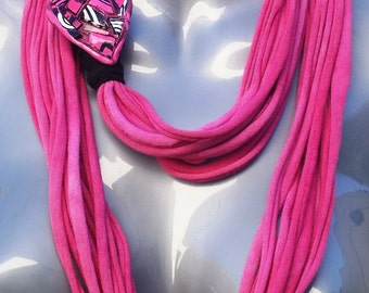 Pink and Black T-Shirt Necklace Scarf and Bracelets with Heart Clasp